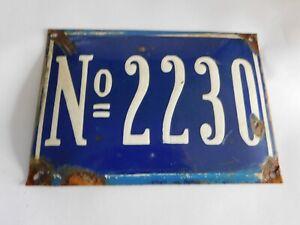 Vintage Original French Street House Number # 2230 -  Enamel Porcelain Sign