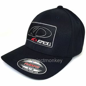 APEXi Logo Icon Patch Hat Cap Black  Flexfit Fitted Black S M L XL Genuine JDM