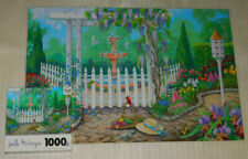 Spring Garden Gate Jigsaw Puzzle 1000 Flowers Fountain Joelle McIntyre Sure-Lox