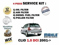 Per RENAULT CLIO 1.5 TD DCI 2001 -- > Nuovo Olio Aria Carburante Polline 4 Filtro Servizio Kit