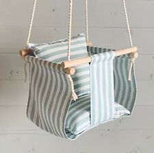 FAST FREE SHIPPING Striped Baby Swing, Theme Nursery Linen Swing, Chair for Baby