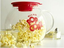 MICROWAVE GLASS POPCORN MAKER FUN BOWL SAFE SERVING PARTY FAT FREE NO OIL NEEDED
