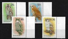ZIMBABWE SG850/3, 1993 OWLS (2ND) MARGINAL MNH SET