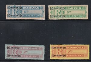 Liberia # F6-9 MIH Complete 1894 Registration Set CV For HINGED $22!