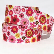 """GROSGRAIN RIBBON 1"""" MOTHER'S DAY FLOWERS FLOWER FLORAL  FL5  ( FREE SHIPPING )"""