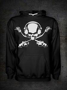 DJ HOODIE - DJ skull and bones Hoody - DJ Pirate Hooded Garment - Mens All Sizes