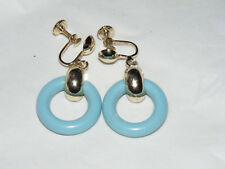 Pretty Light Blue Thermoset Ring Loop on Gold Tone Screw Back Earrings R2