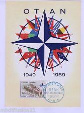 1959 - FDC CP 1°JOUR!! - 10e ANNIVERSAIRE DE L' OTAN - PARIS - TIMBRE Yt.1228