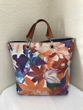 MAURIZIO TAIUTI MULTICOLOR LEATHER FLORAL TAN HANDLES TOTE SATCHEL HANDBAG