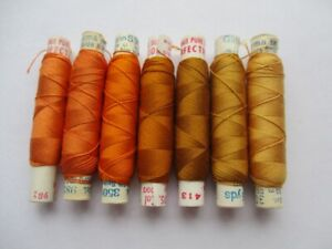 VINTAGE PURE SILK EMBROIDERY THREADS PERIVALE & GUTERMANN ORANGE SHADES