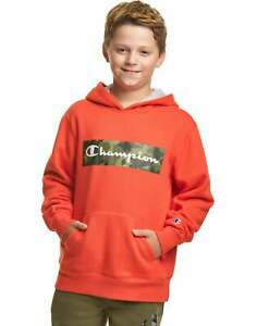 Champion Kids Boys Fleece Hoodie Sweatshirt Camo Script Logo Midweight sz S-XL