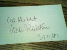 """VERA RALSTON, Autographed 3""""X5""""  INDEX CARD with COA !!!  Excellant Cond. !!!"""