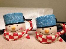 Hallmark Mitford 3D Snowman Lot Of 2 Ceramic 16oz Coffee Cup Mug EXC