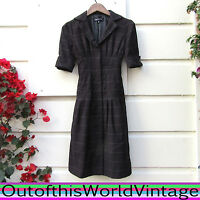 JONES NEW YORK Black Plaid Dress WORK CAREER short sleeve fitted knee length 2 S