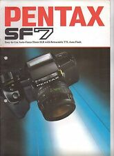 VINTAGE PENTAX SF7 CAMERA BROCHURE  HOLE PUNCHED