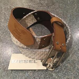 "Diesel Bintrec Sz2 65/26 Womens Girls Cream Cotton Leather Belt BNWT xs 23""-27"""