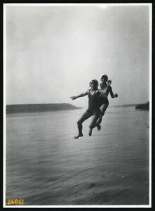 Larger size Vintage fine art Photograph, girls jumping, swimsuit, unusual, 1930'