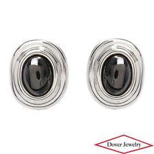 Estate Hematite Sterling Silver Large Oval Omega Back Earrings 29.1 Grams NR