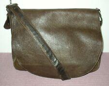 Eddie Bauer Large Brown Pebbled Leather Crossbody Messenger Shoulder Bag