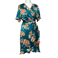 Studio Wrap Dress UK 20 Teal Floral Ruffles Short Sleeve V Neck Knee Length BNWT