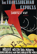 THE TRANSSIBERIAN EXPRESS   Moscow Travel Poster Rail Train Shortest Way Print