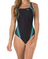 Speedo Women's Swimwear Black Blue 4 Quantum Splice PowerFlex One-Piece $78- 103