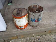 2 Vintage STANDARD OIL MOBIL Metal 5 Gallon Oil Gas Can FILLING STATION GARAGE