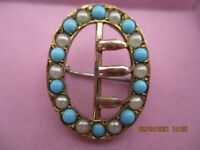 ANTIQUE GOLD TONE BUCKLE BROOCH C 1890  FAUX  PEARL + TURQUOISE , V. SWEET