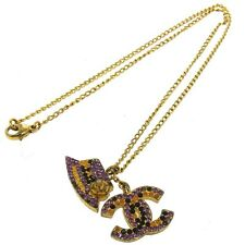 Authentic CHANEL Vintage CC Logos Gold Chain Rhinestone Pendant Necklace D01637a