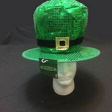 St Patricks Day Green JUMBO SEQUIN LEPRECHAUN TOP HAT Adult Costume Accessory
