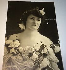 Rare Antique Victorian American Actress Floral Fashion Chicago Cabinet Photo! US
