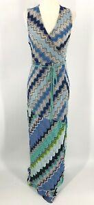 Missoni Mare Wrap Beach Dress Sz 40 Crochet Zig Zag Sleeveless Blue Long EUC