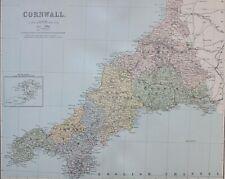 1889 COUNTY MAP CORNWALL TRURO ST IVES BODMIN CAMELFORD LAUNCESTON SALTASH
