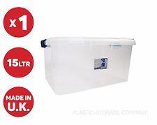 15 LITRE PLASTIC STORAGE BOX! COLOURED CLIP + HANDLE! HANDY BOX CHEAP!!