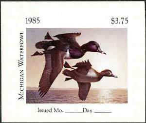 MICHIGAN  #10PI  1985 STATE DUCK STAMP IMPERF PROOF IMPERF by  Robert Steiner