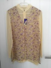 Vintage Style 100% Pure Silk Ladies 2 In 1 Blouser Size UK 12 Brand New