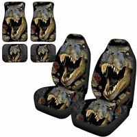 Dinosaur Car Seat Covers + Car Floor Mats Front and Rear Full Set of 6PC for Men