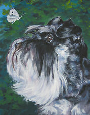 "SCHNAUZER dog portrait art Canvas PRINT of lashepard painting LSHEP 11x14"""