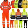 Hi Viz Vis Jacket Hoodie Workwear Reflective High VISIBILITY Waterproof Trousers