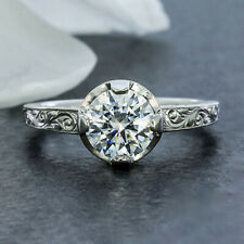 1.02 Cts Round Cut Moissanite Art Deco Engagement Ring in 9k Solid White Gold