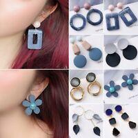 Fashion Geometric Blue Acrylic Earrings Women Drop Dangle Ear Stud Jewelry Gifts