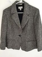 Talbots Collection Womens Long Sleeved Wool Blazer Jacket Size:10 Black & White