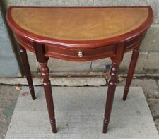 Antique Style Reproduction Leather Top Hallway Console Reception Table