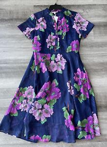 Nanette Lepore Blue Floral Dress Size 4 Short Sleeve Button Front