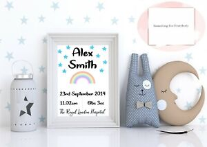 Personalised New Baby Gift Christening Gift Baby Boy Girl Birth Print Gift A4