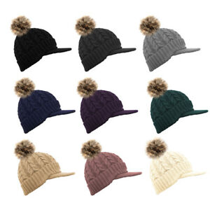 Unisex Warm Cosy lined Knitted Peaked Beanie Baseball cap with faux fur pompom
