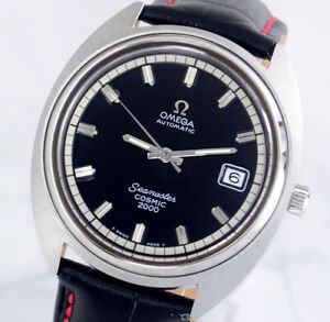 OMEGA SEAMASTER COSMIC2000 AUTOMATIC DATE BLACK DIAL MEN'S WATCH
