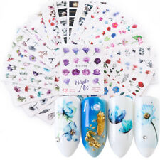24 Sheets Nail Sticker Ink Flower Applique Nail Art Decal Manicure Watermark FD8