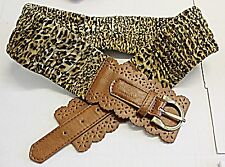 VINTAGE RETRO SKIN PRINT & FAUX LEATHER STRETCH BELT BUCKLE STRAP 80S INSPIRED
