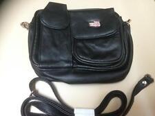 Black Leather Hip Bag Shoulder Bag Purse Biker Motorcycle Fanny Pack USA Flag
